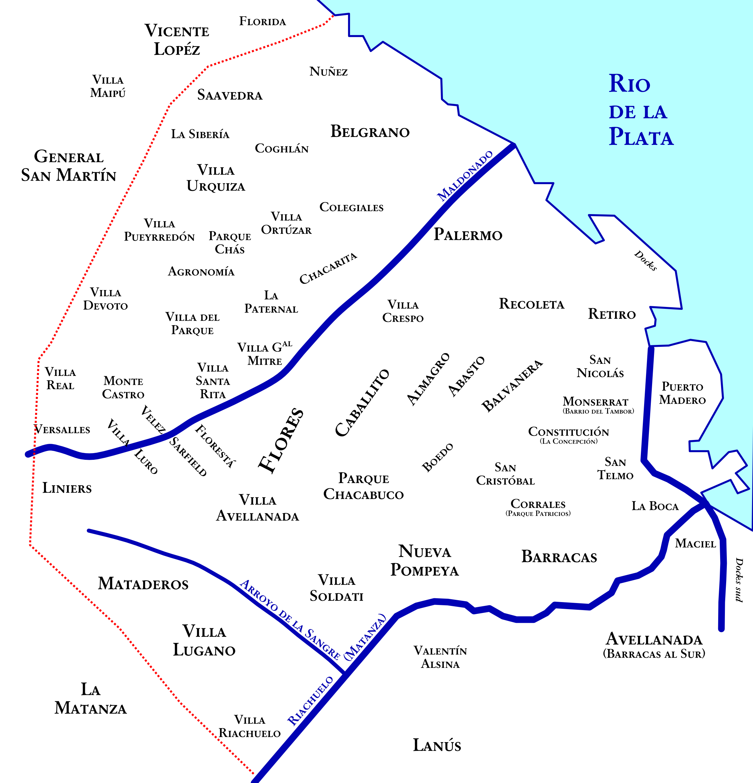 Schéma des quartiers de Buenos Aires